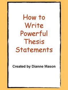 How to develop a working thesis statement